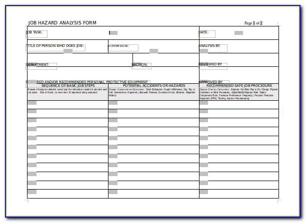 Usace Activity Hazard Analysis Template Excel