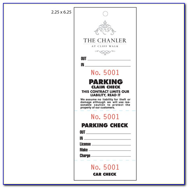 Valet Parking Ticket Template Free