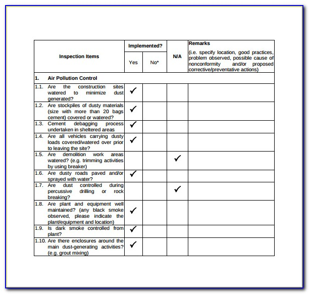 Vehicle Inspection Checklist Form