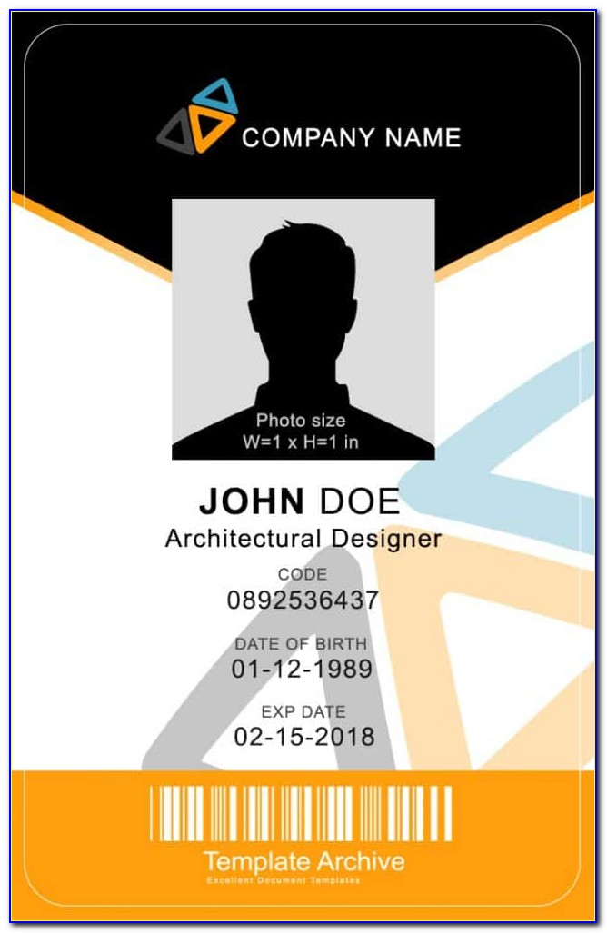 Vertical Id Card Template Free Download