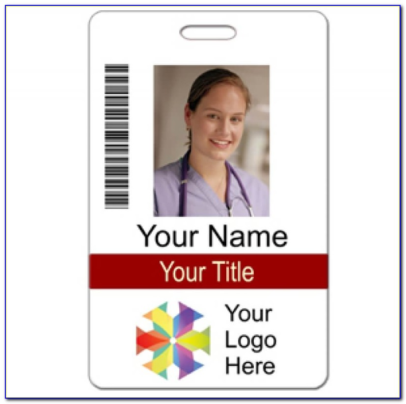 Photo Id Custom 2 Lines Text Bar Code Logo Name Tag Wizard Vertical Name Badge Template Vertical Name Badge Template