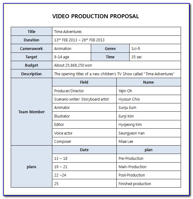 Video Production Proposal Template Free
