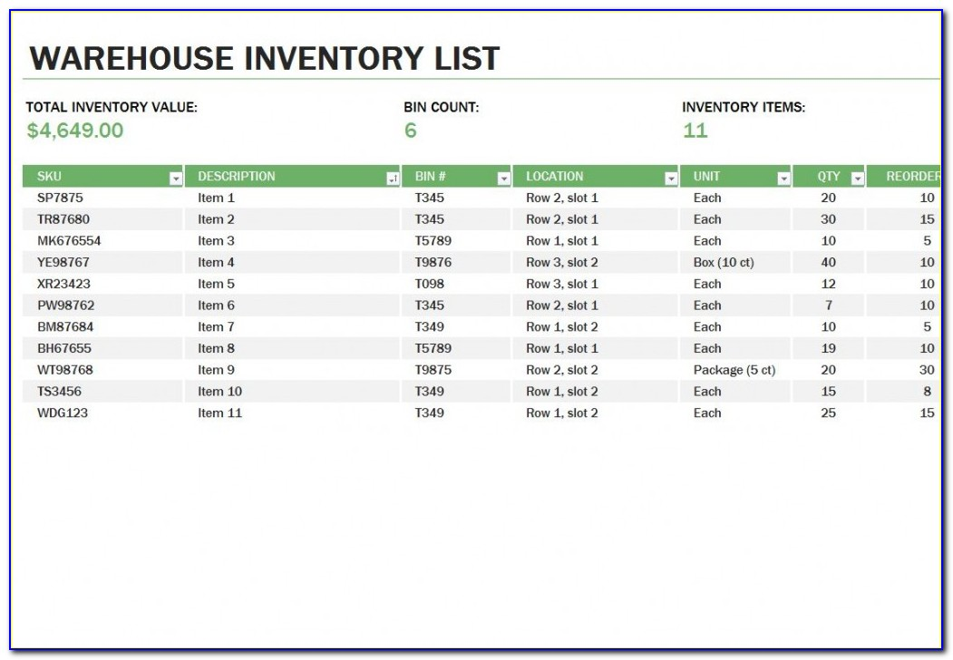 Warehouse Rack Layout Excel Template