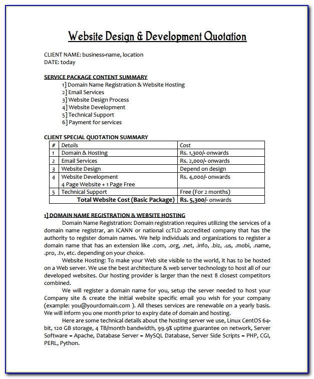 Web Design Quote Template Doc