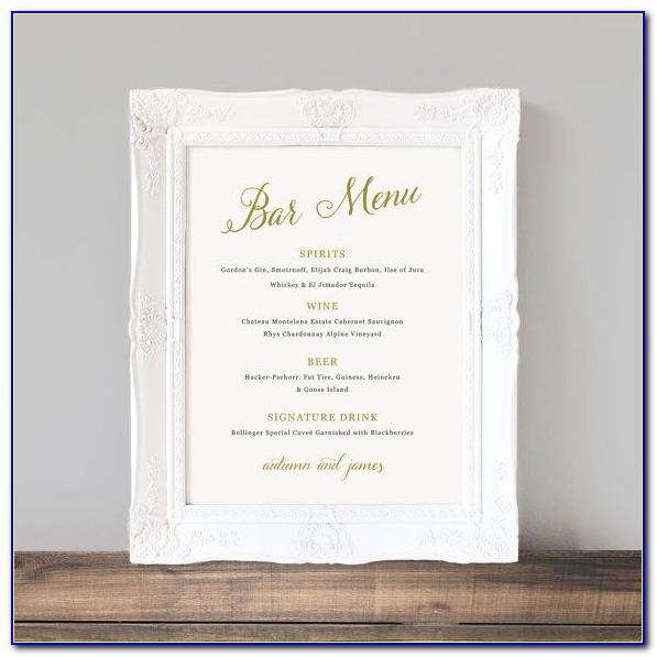 Wedding Bar Menu Template Free Download