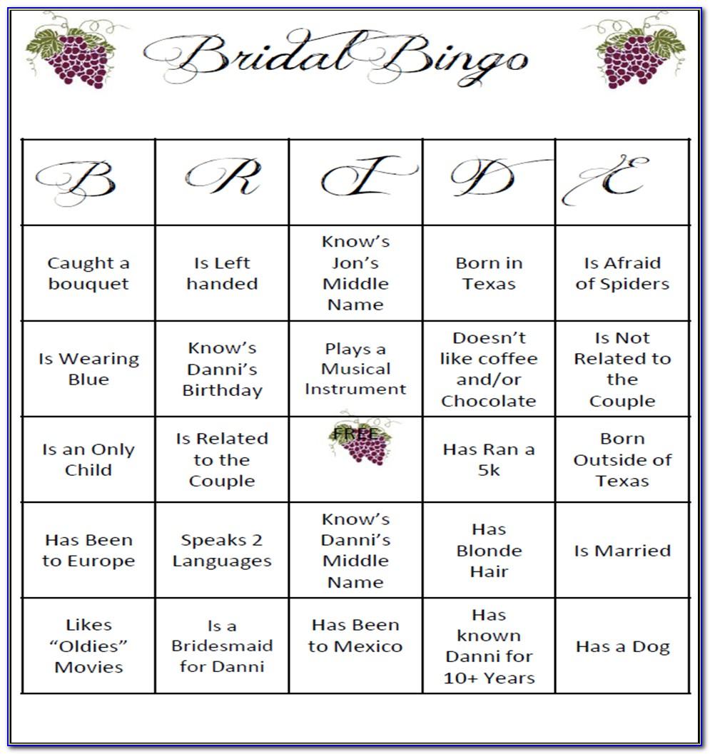 Wedding Bingo Template Free