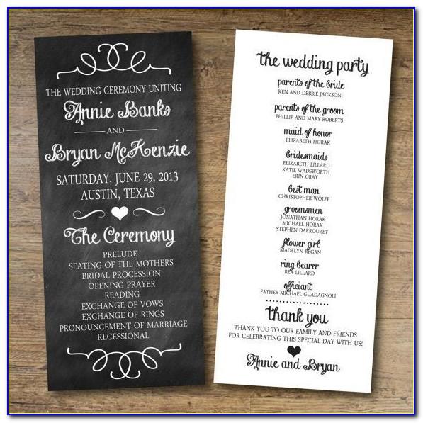 Wedding Ceremony And Reception Program Templates