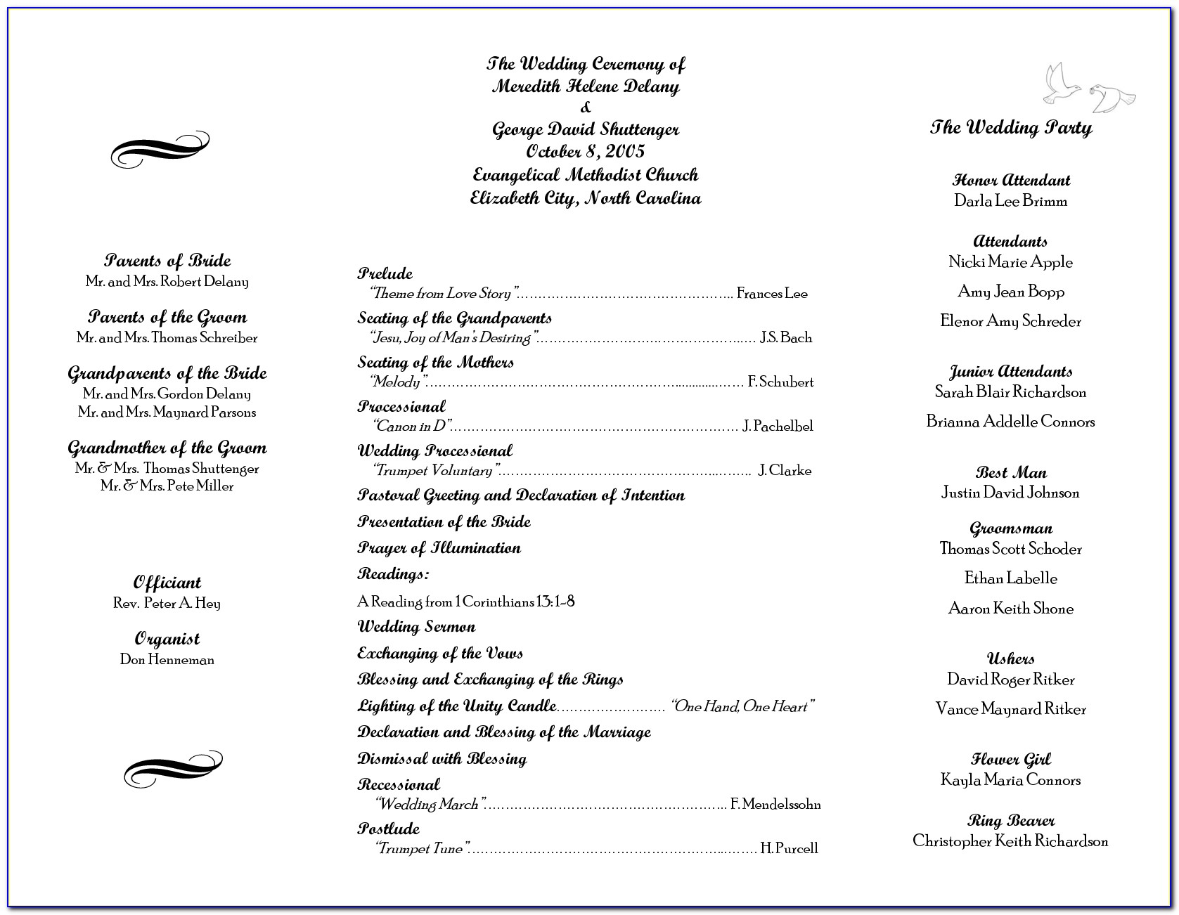 Wedding Ceremony Outline Template