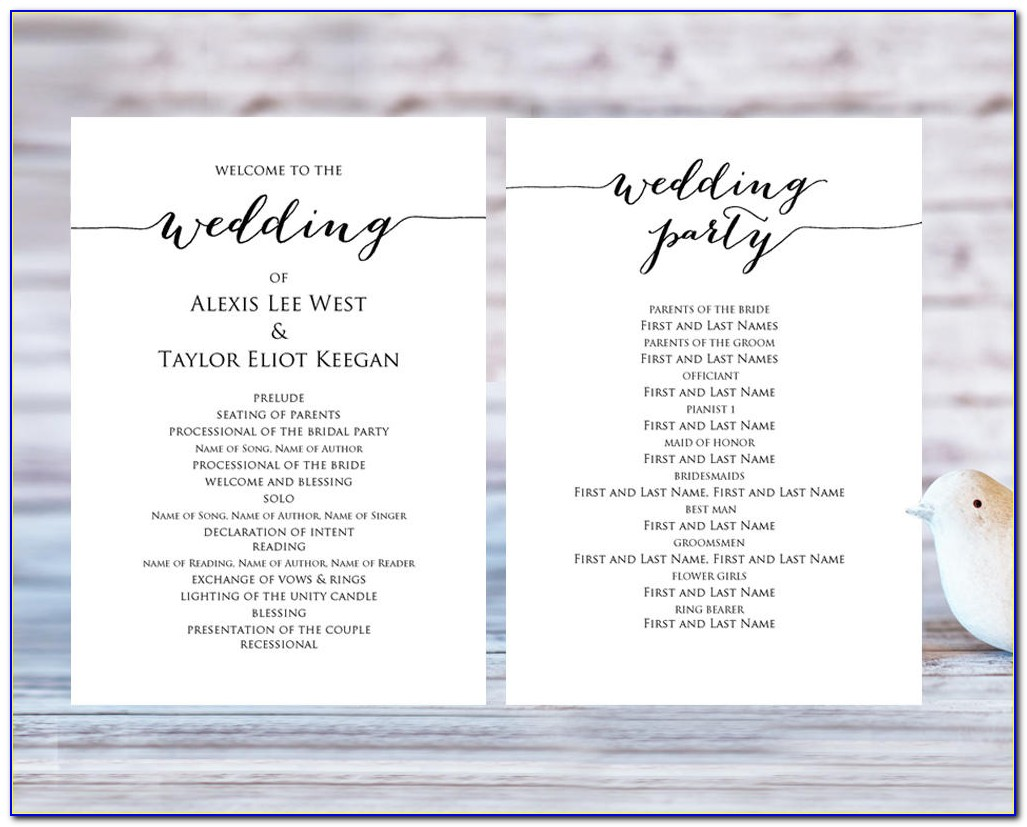 Wedding Ceremony Program Template Free