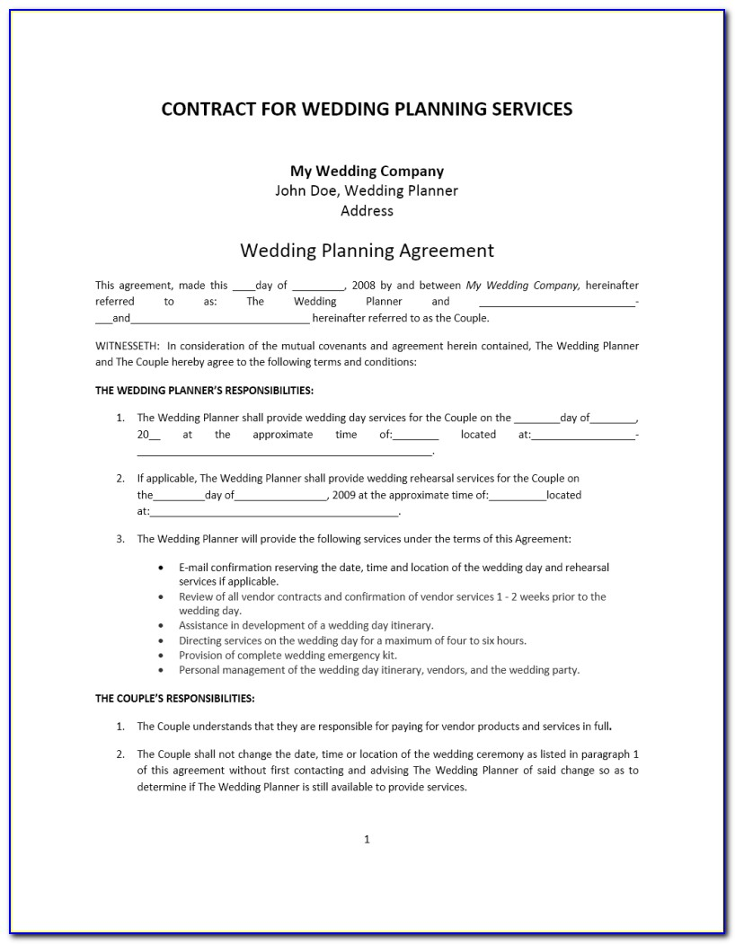 Wedding Coordinator Contract Template Free