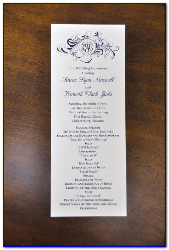 Wedding Program Format Examples