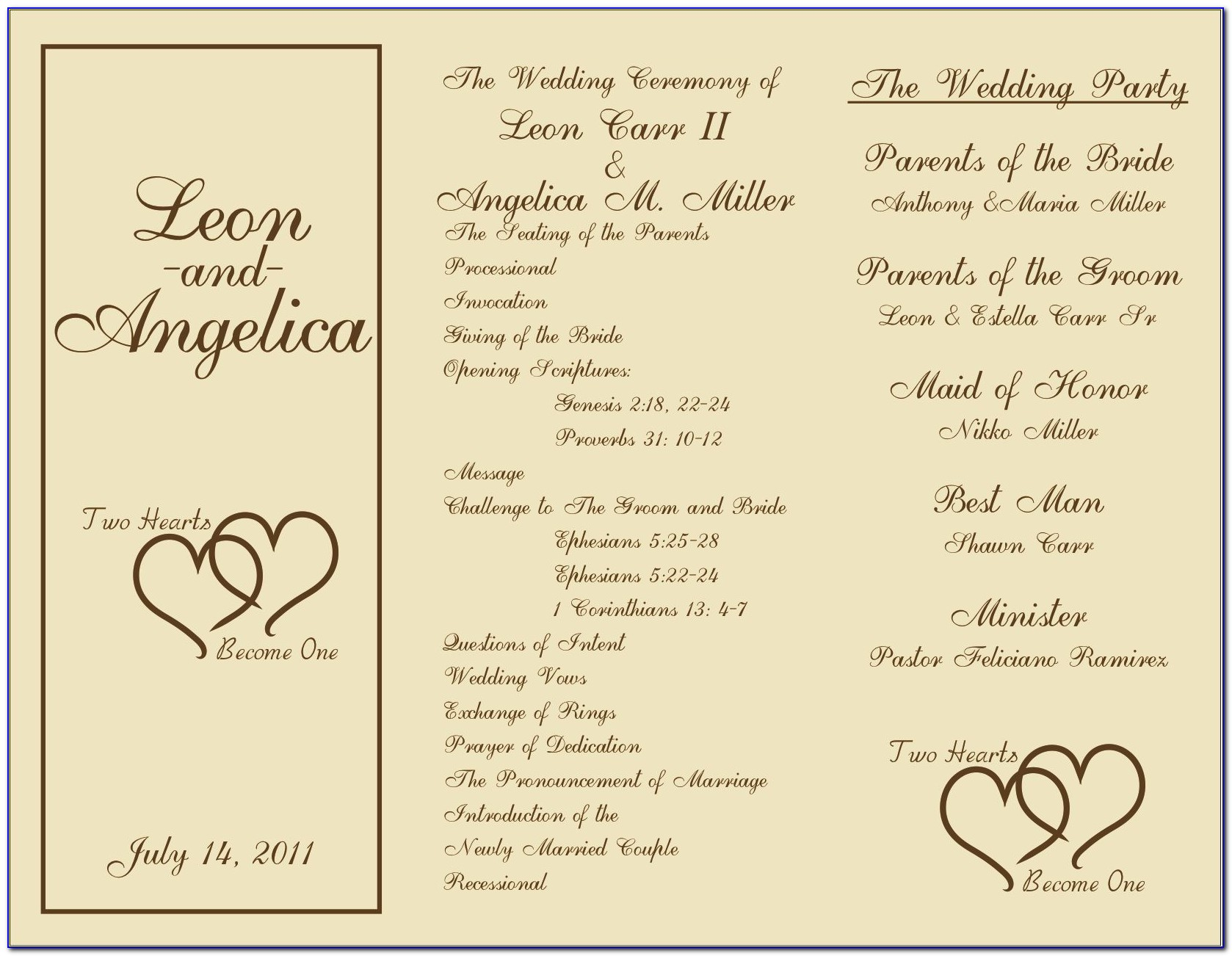 Wedding Program Layout Examples