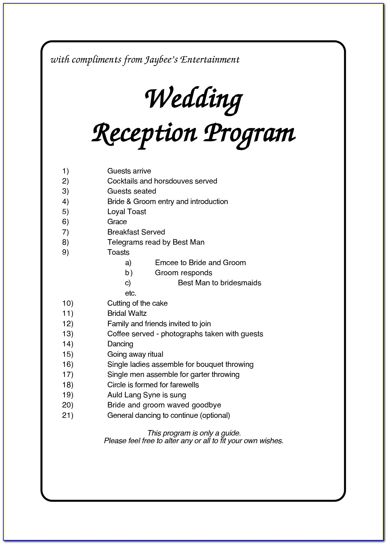 Wedding Reception Program Templates South Africa