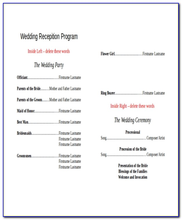 Wedding Reception Program Templates Word