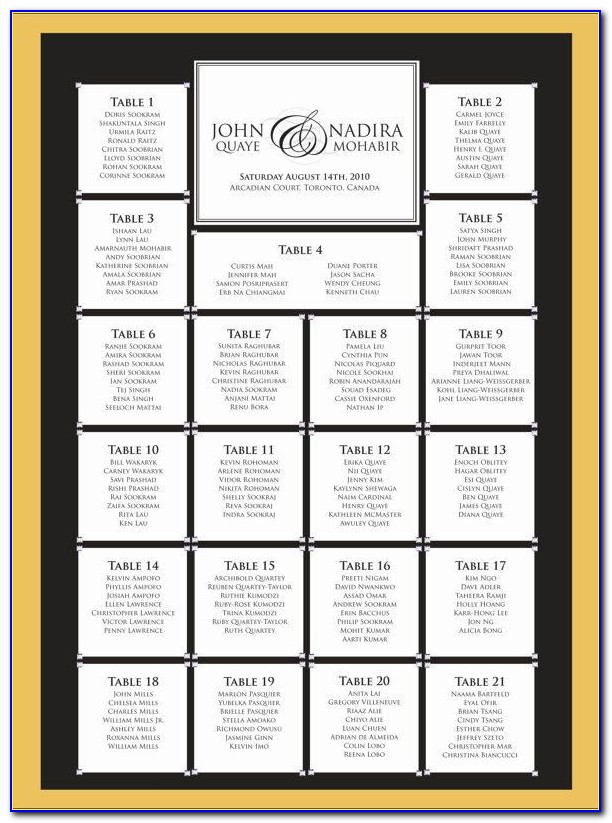 Wedding Seating Plan Template Free Download