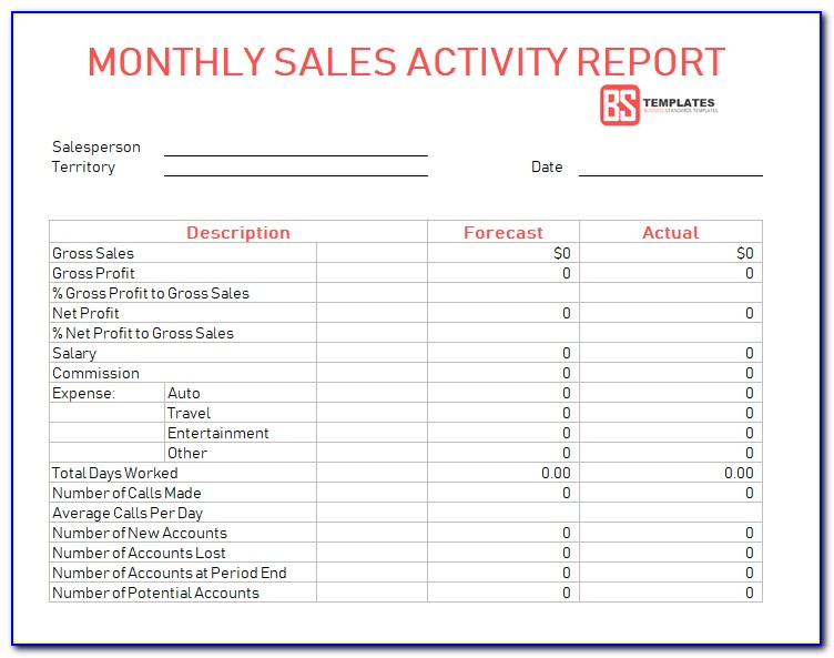 Weekly Sales Activity Report Template Excel