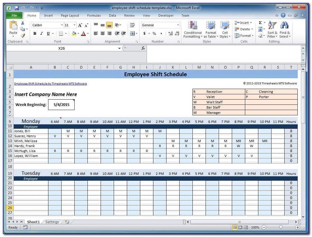 Weekly Work Shift Schedule Template