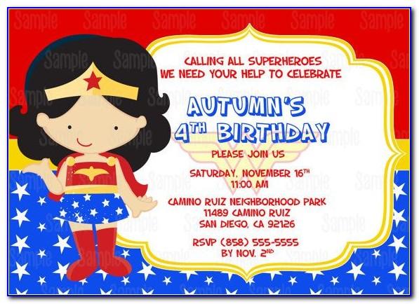 Wonder Woman Birthday Invitation Template
