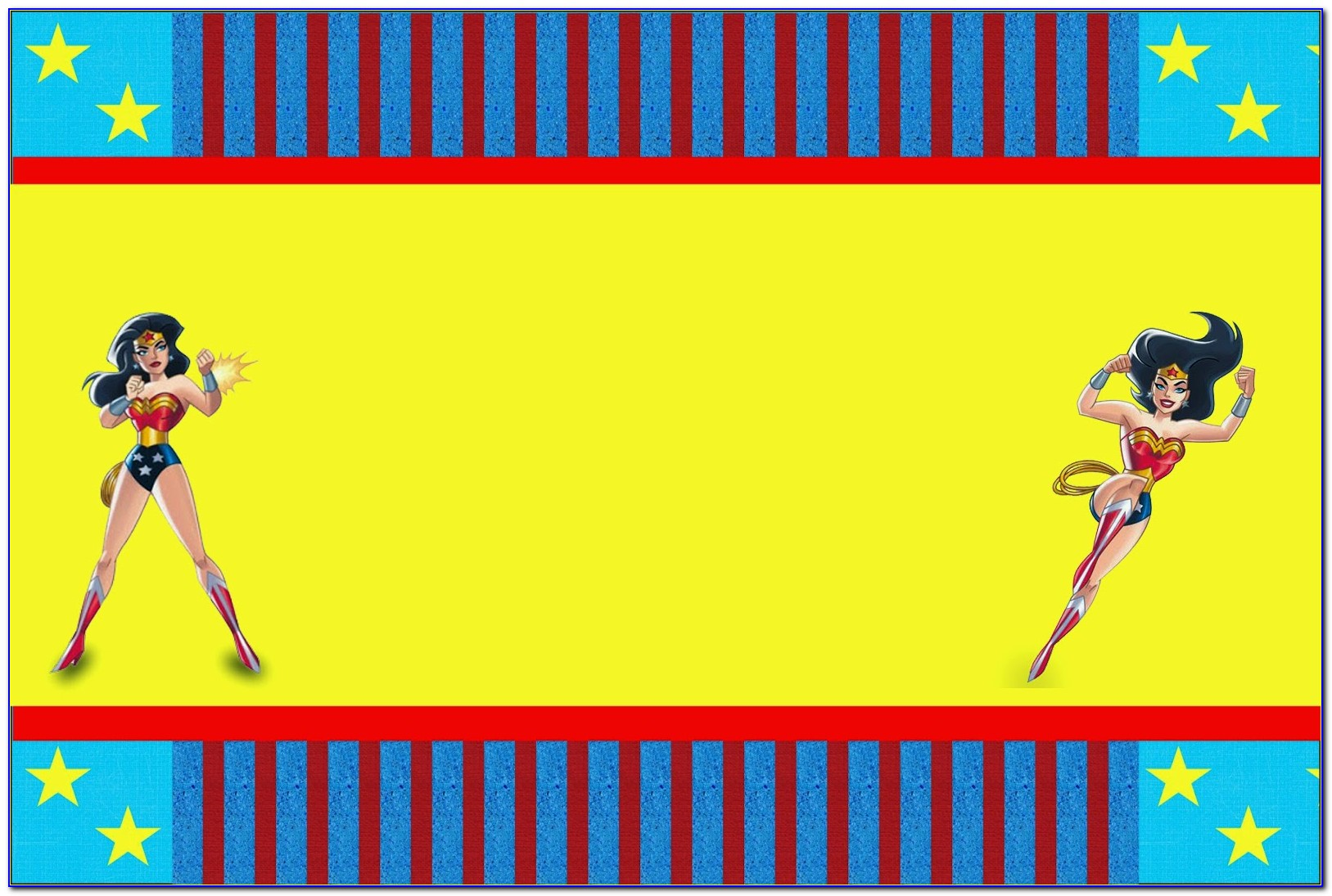 Wonder Woman Invitation Card Templates