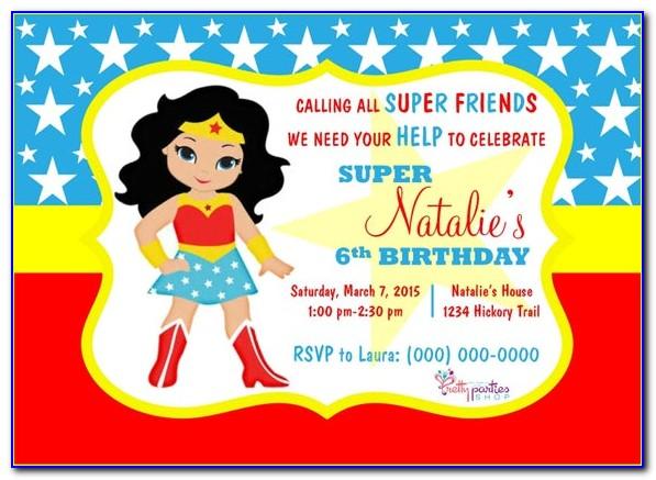 Wonder Woman Invitation Template Free