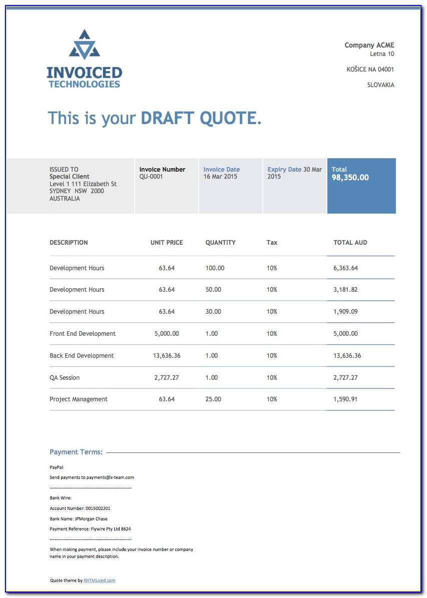 Xero Invoice Templates Docx Free