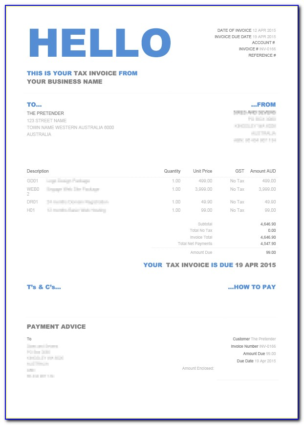 Xero Invoice Templates Word