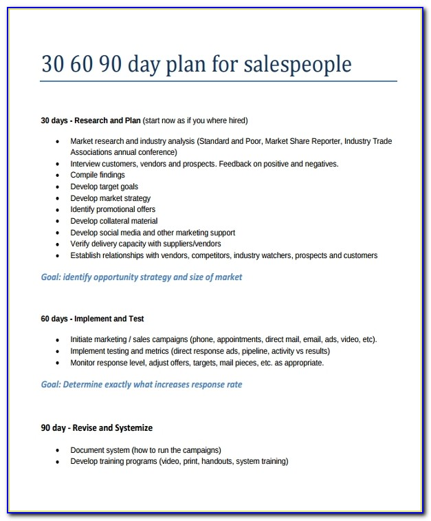 30 60 90 Day Business Plan Examples