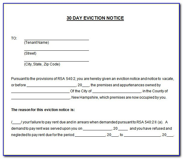 30 Day Eviction Notice Template Nc