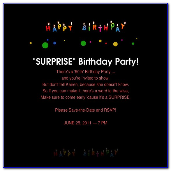 50th Birthday Invitation Template Vector