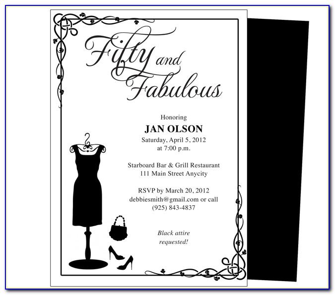 50th Birthday Party Invitation Templates Free