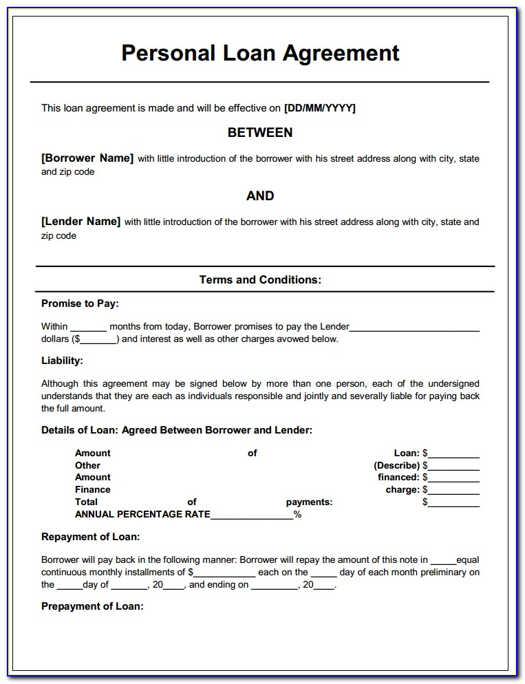 Agreement Format For Borrowing Money In India