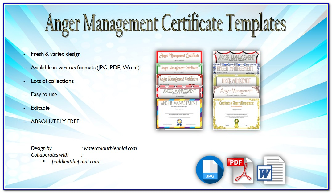 Anger Management Completion Certificate Template