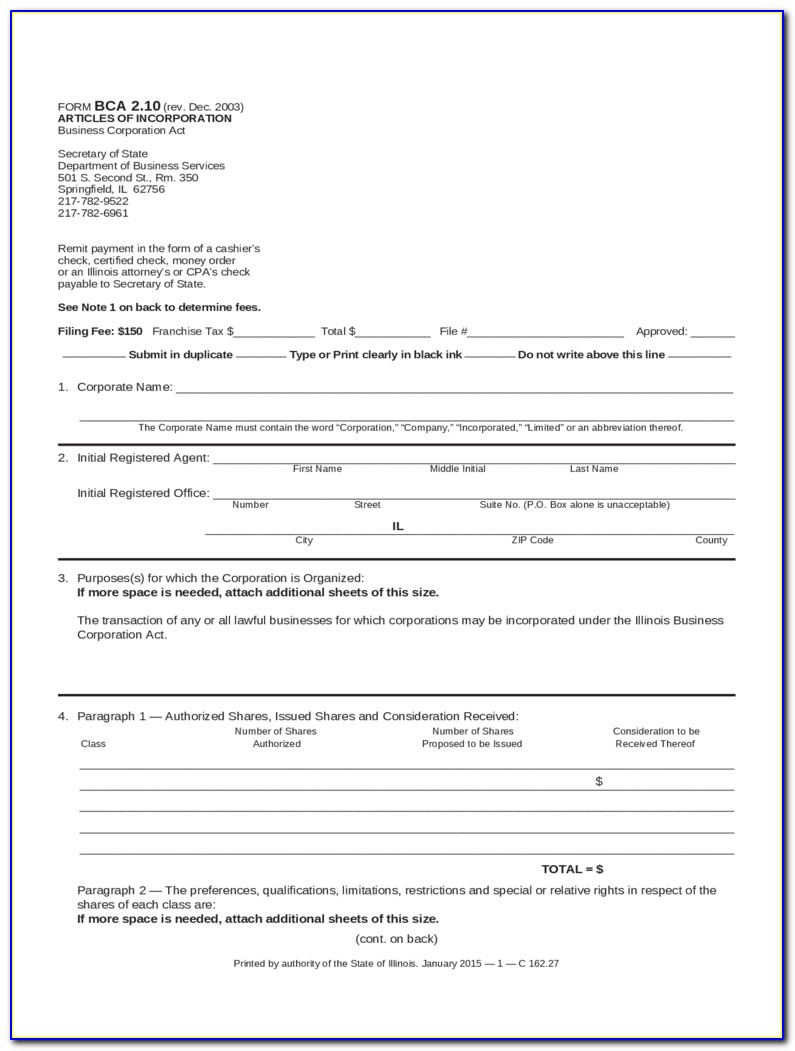 Articles Of Incorporation Template California