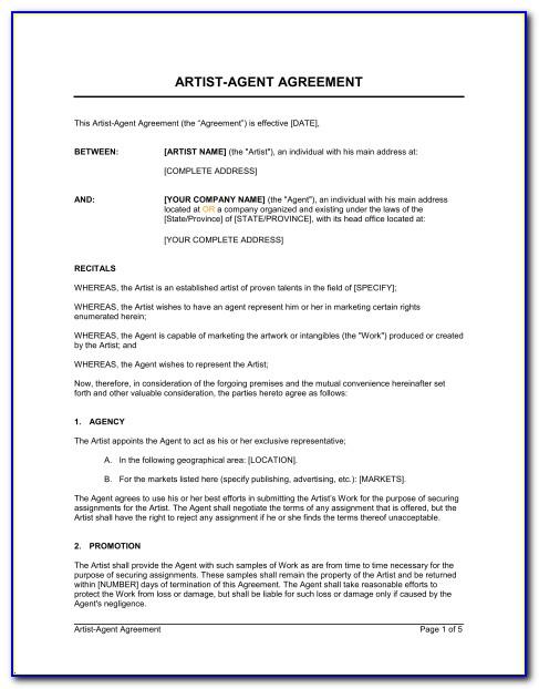 Artist Agent Agreement Template