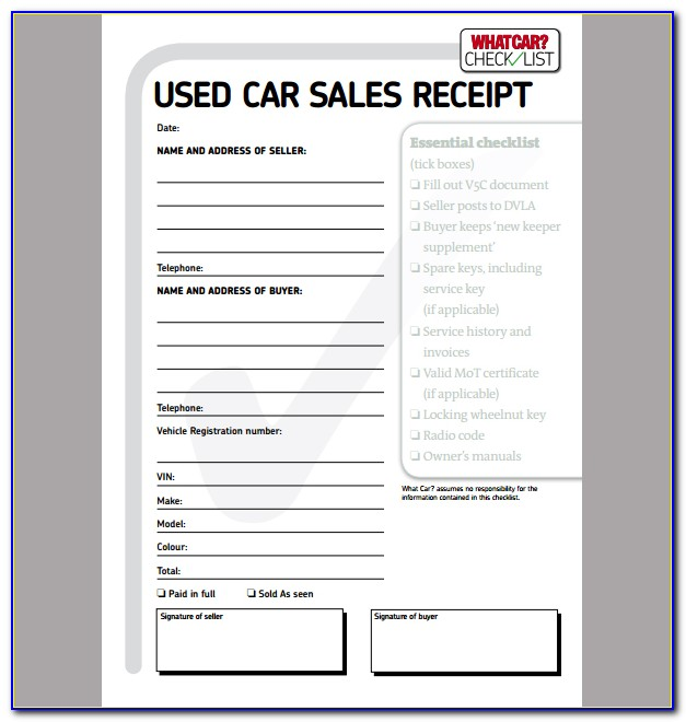 Auto Sales Receipt Template Free