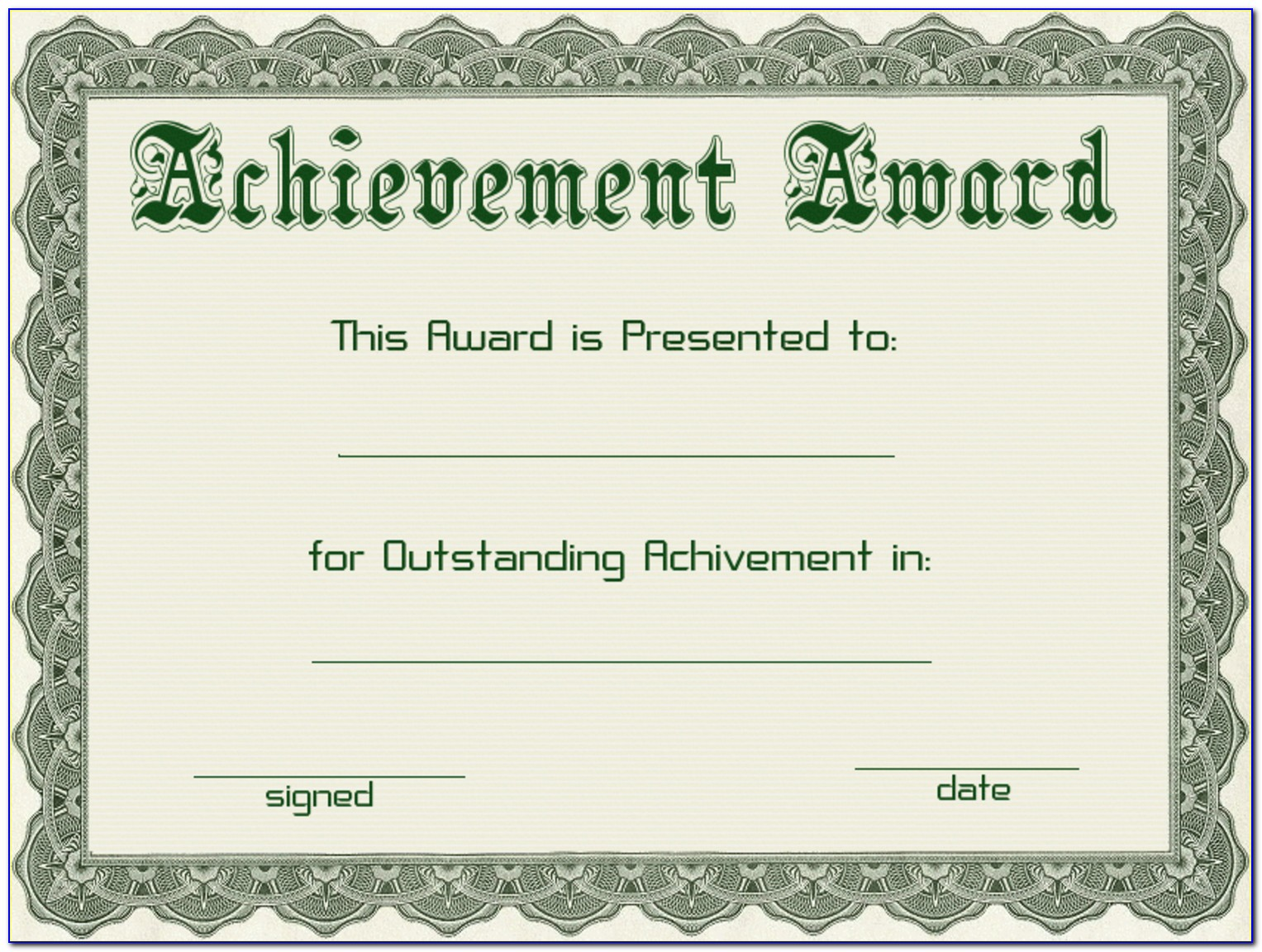 Award Certificate Template Editable