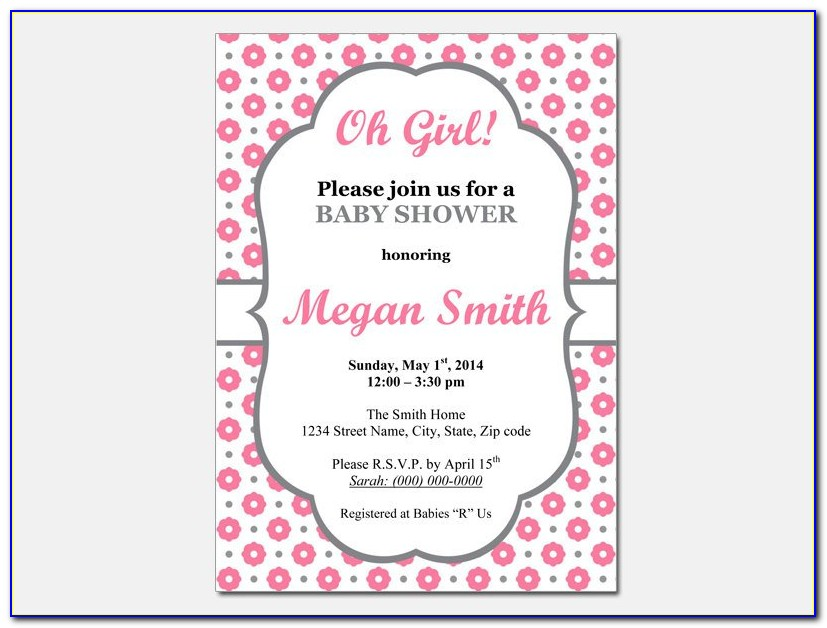 Baby Girl Announcement Card Template