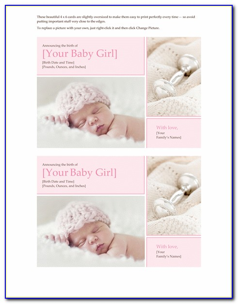 Baby Girl Announcement Samples