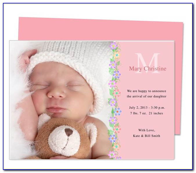 Baby Girl Announcement Template Word