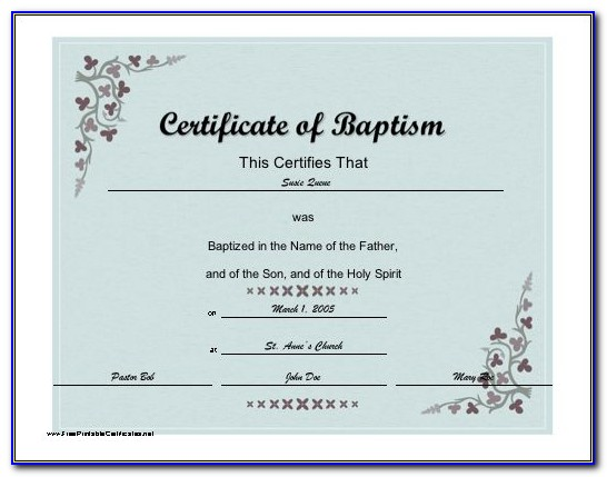 Baptism Certificate Template Spanish