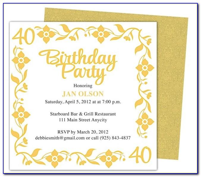 Birthday Invitation Template Microsoft Word