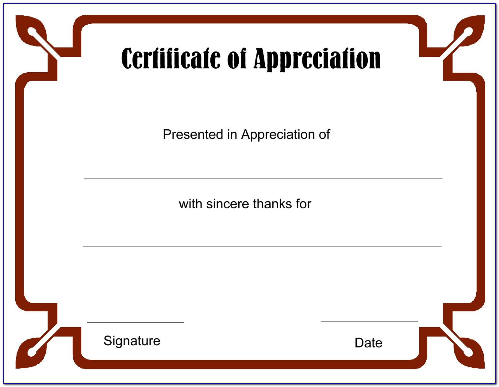 Blank Certificate Template Free