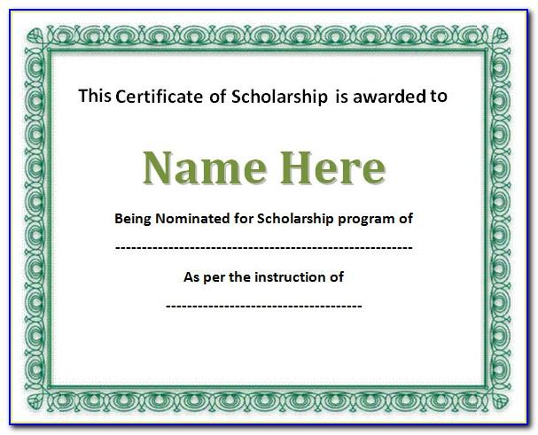 Blank Certificate Template Word Free