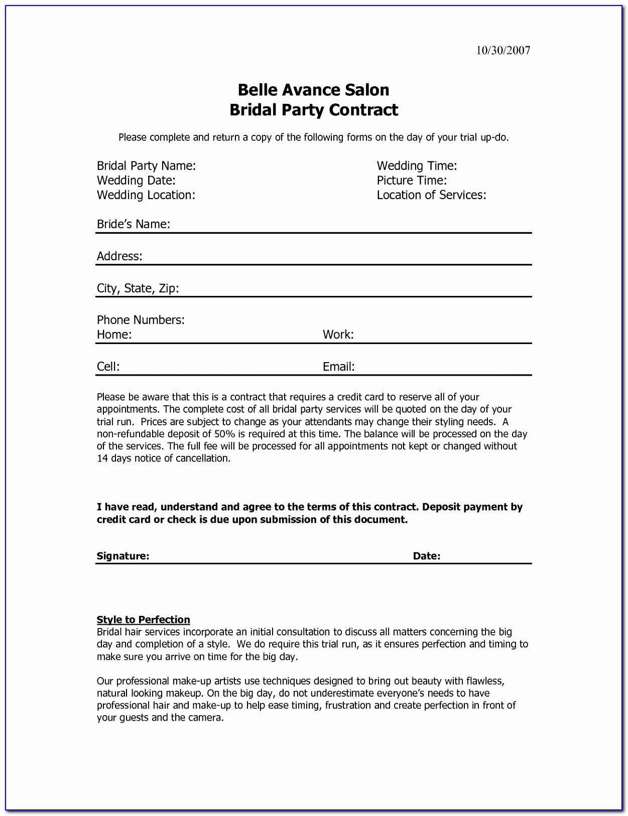 11 Best Of Contract Agreement For Salon Hair Salon Booth Printable Wedding Hair Contract Template Luxury Pdf Word Excel Templates Aoupi