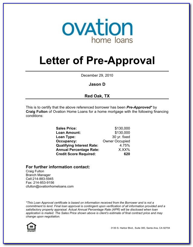 Sample Pre Approval Letter 8 Download Free Documents In Word Pdf