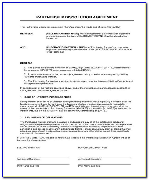 Business Partner Buyout Agreement Template