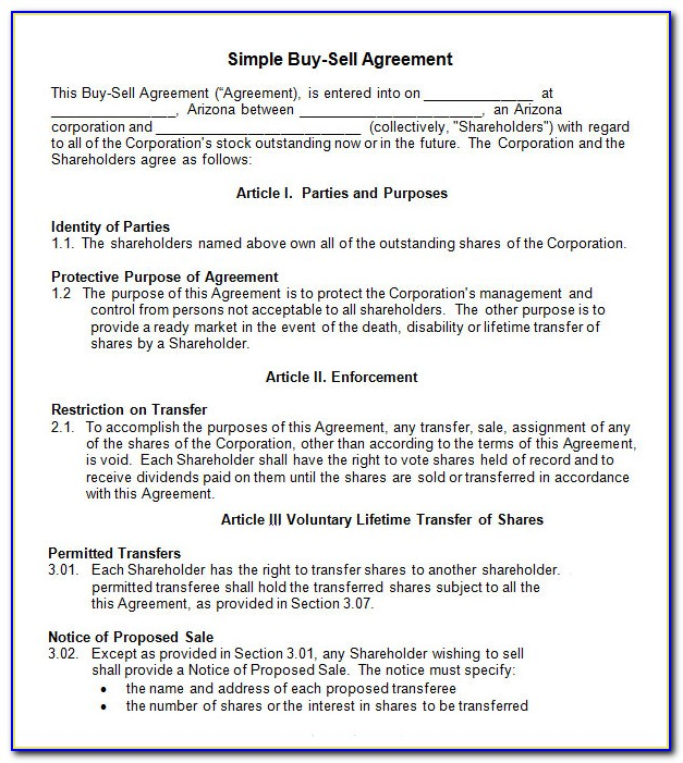 Business Partnership Buyout Agreement Template