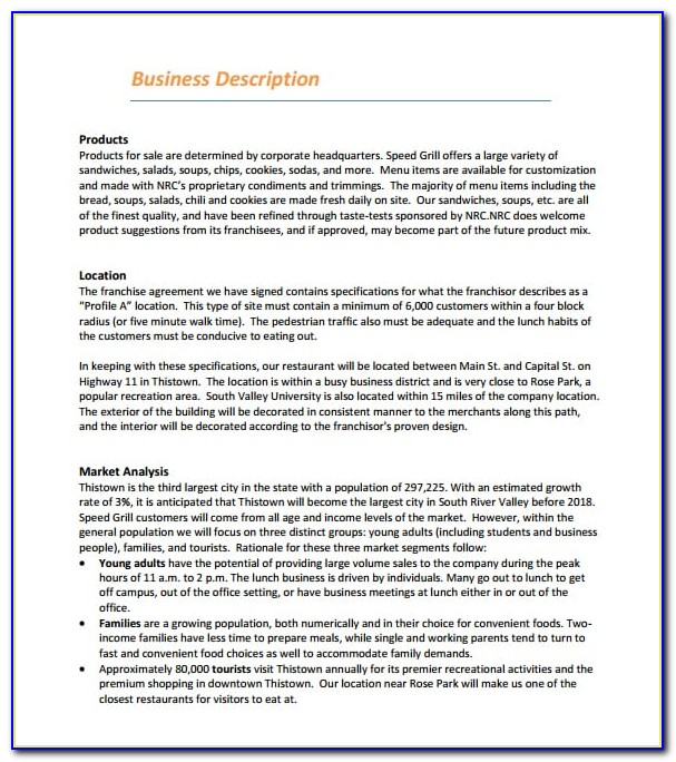 Business Plan Template For A Restaurant Pdf