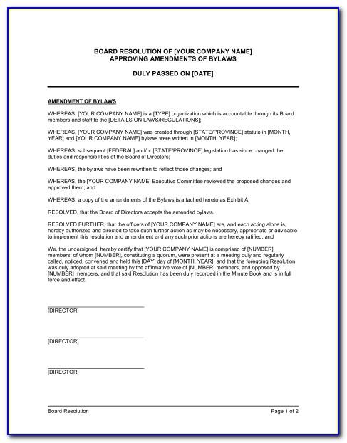 Bylaw Amendment Template