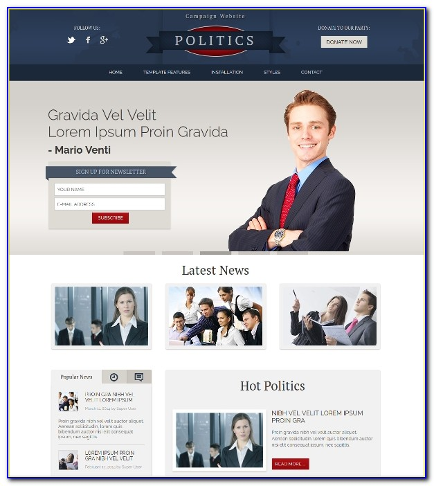Campaign Website Template Free Download